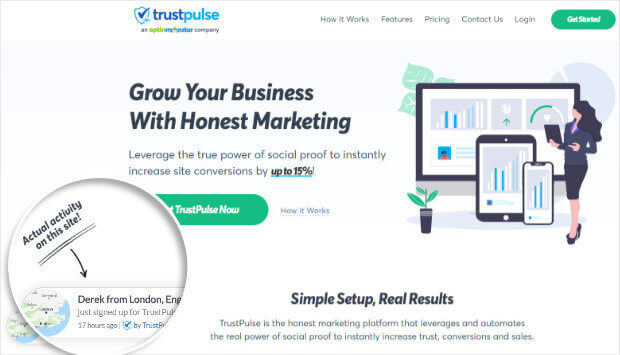 TrustPulse example notification on home page