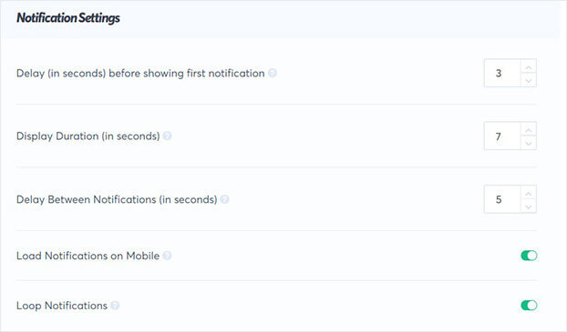 TrustPulse social proof notification display settings_