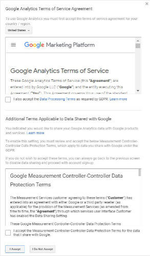 Accept Google Analytics terms of agreement