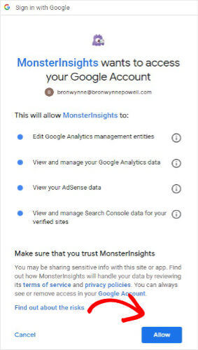 Allow MonsterInsights to Access Google Analytics