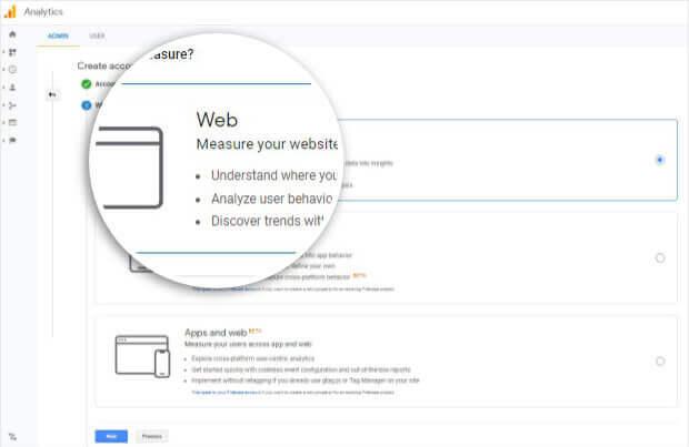 Choose Web in Google Analytics