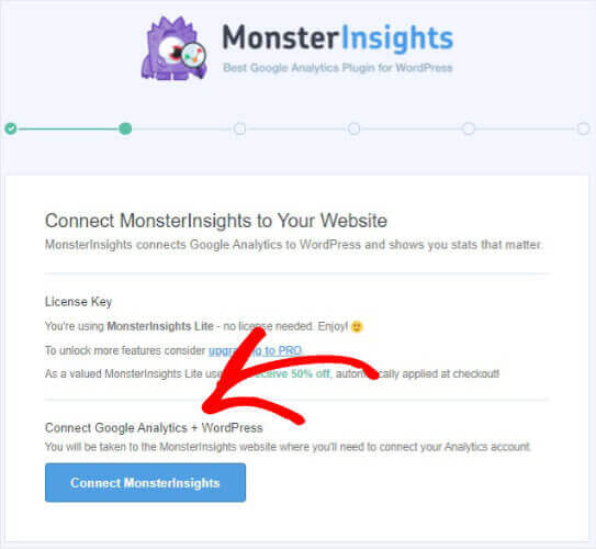 Connect to Monsterinsights