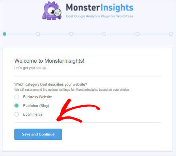 Monstersinsights welcome screen