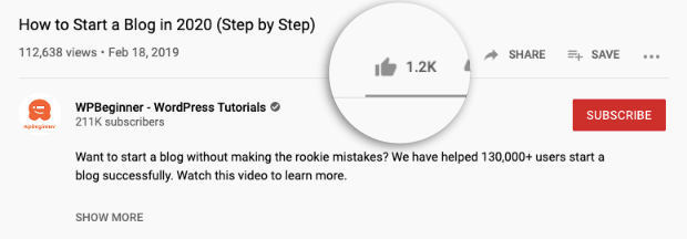 WPBeginner social proof youtube video likes