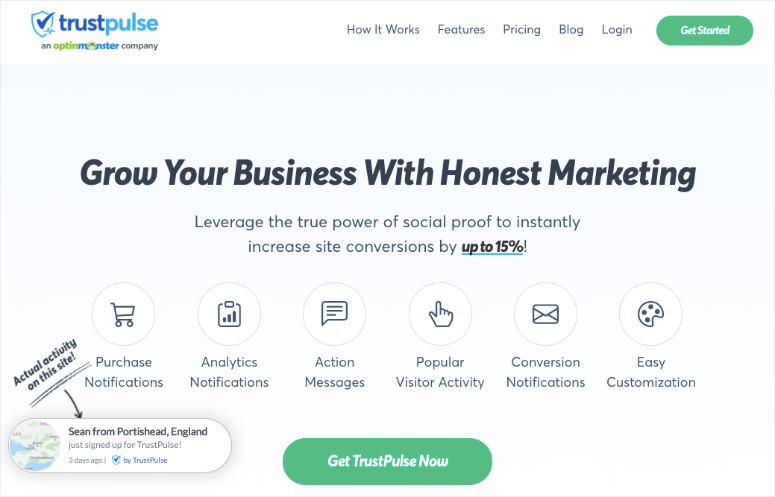 trustpulse new homepage