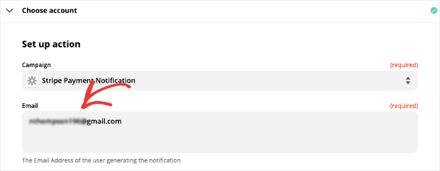 Enter email of person generating the notification in Zapier