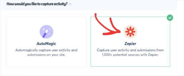 Select Zapier to capture TrustPulse activity