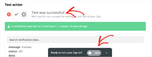 Test and Activate your Zap
