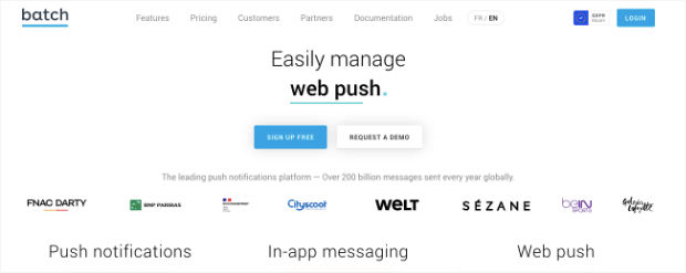 batch push notification homepage