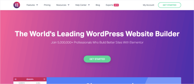 elementor landing page builder homepage