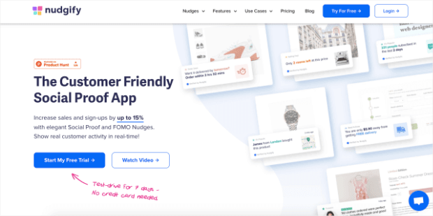 nudgify homepage