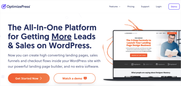 optimizepress landing page builder homepage