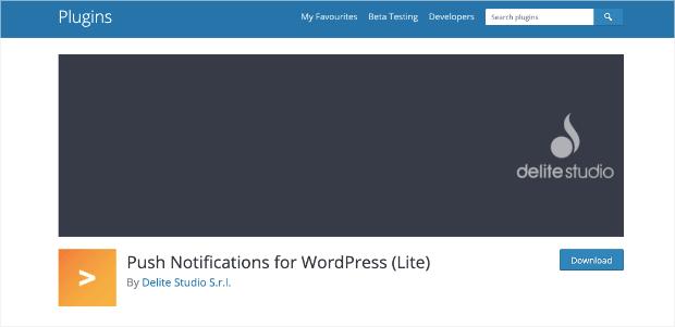 push notifications for wordpress homepage