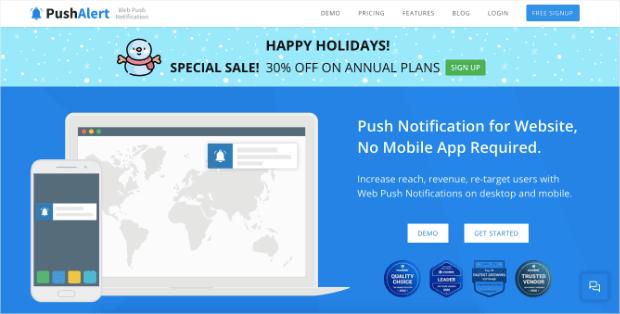 pushalert push notifications homepage