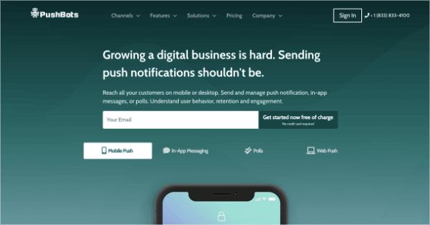 pushbot push notification software homepage