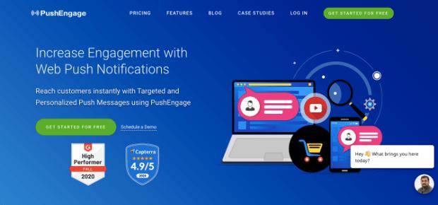 pushengage push notification app homepage