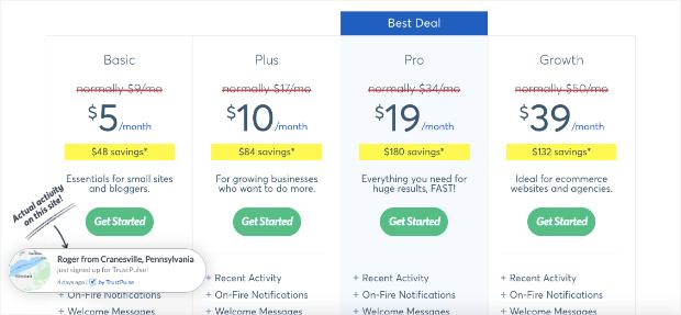 trustpulse pricing updated