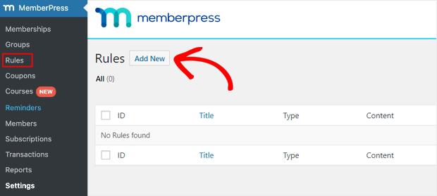 add new rule memberpress