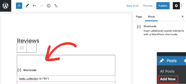 add shortcode to review page