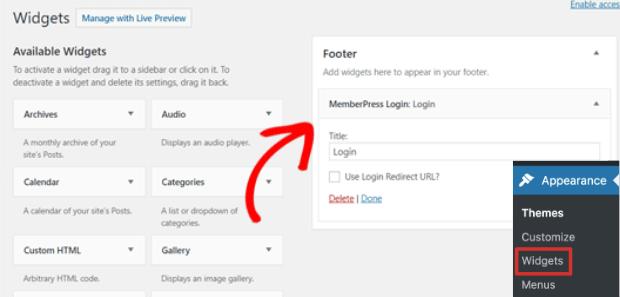 add membership login widget
