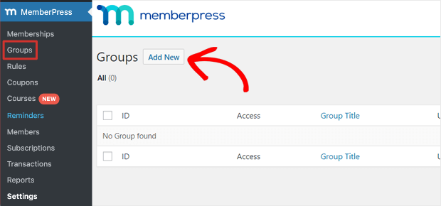 add new group for pricing page
