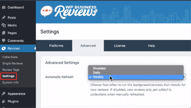 automatic refresh in wp business reviews