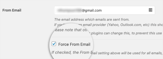 check box for force from email
