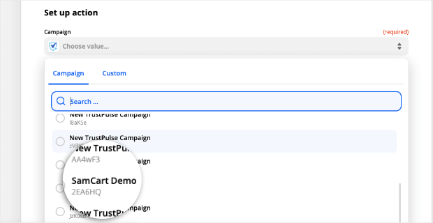 choose samcart demo campaign from zapier