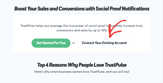 connect trustpulse to your existing account