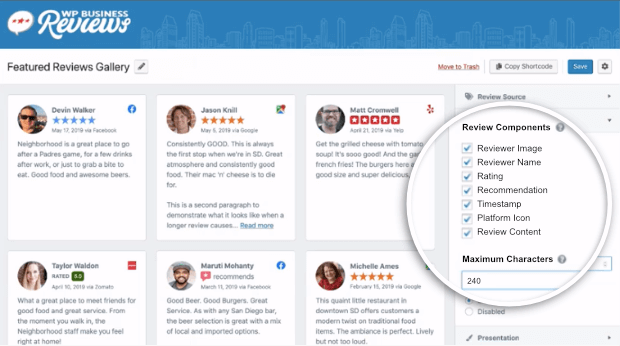 customize details in wpbusiness reviews