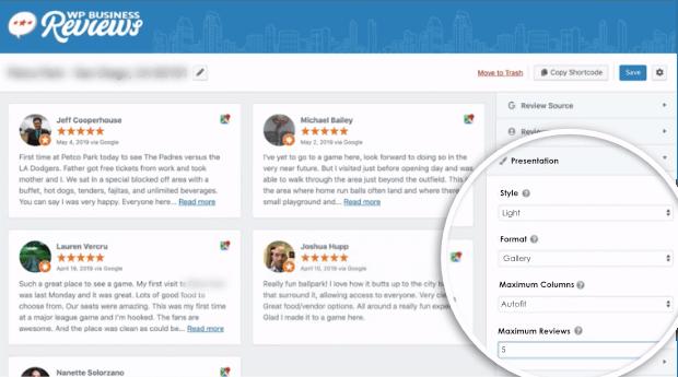 customize reviews wpbusiness reviews