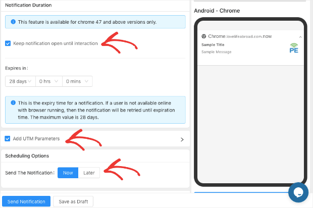 editing options to create a push notification with pushengage