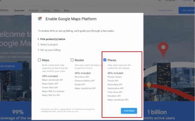 enable google places for api