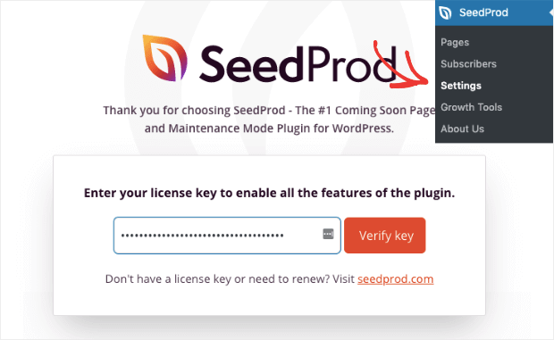 enter seedprod license key