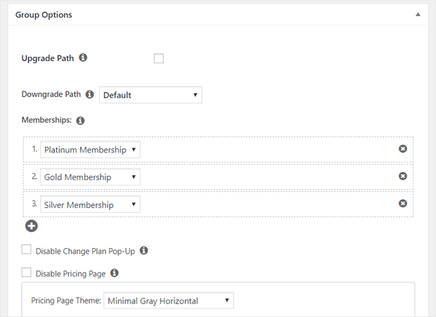 memberpress group options