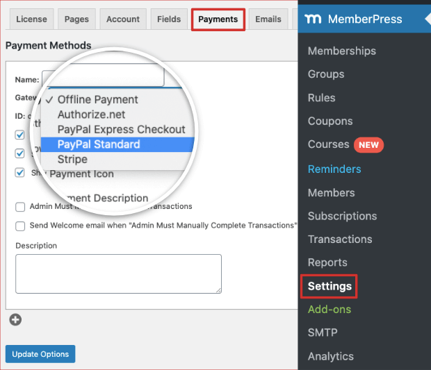 payment options in memberpress