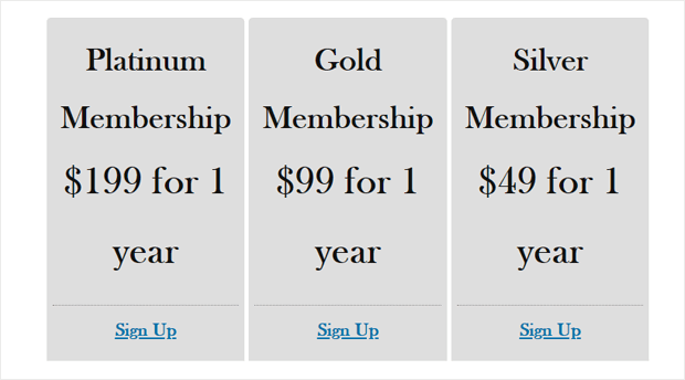 pricing page demo