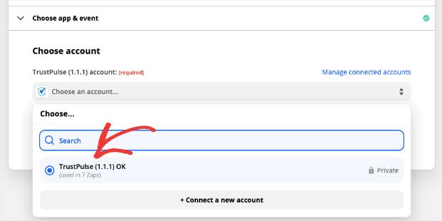 select trustpulse account for zapier