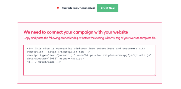 site is not connected trustpulse warning