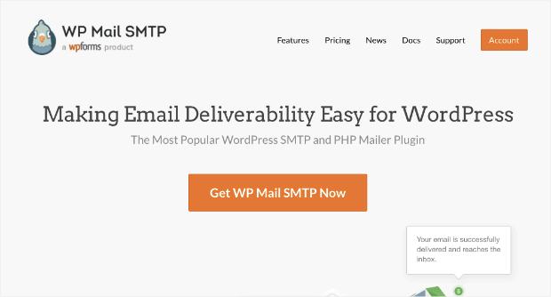 wp mail smtp for wordpress homepage
