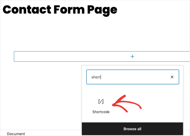 add shortcode to a page