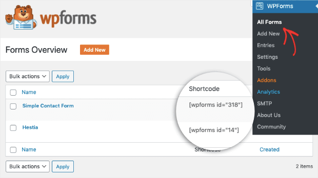 add shortcode to your website