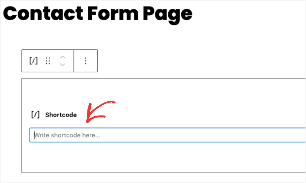 contact form page to add shortcode