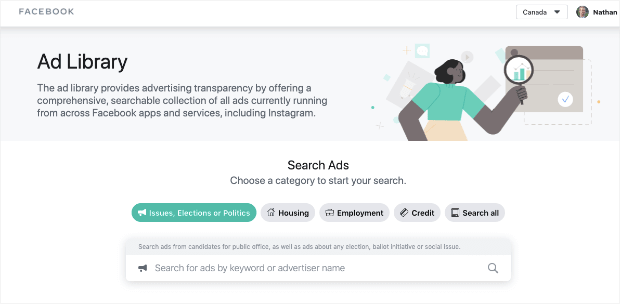 facebook ad library homepage-min