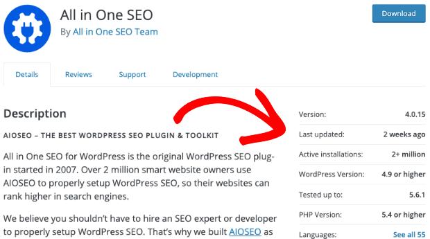 plugin details in wordpress