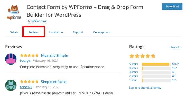 ratings and reviews on wordpress