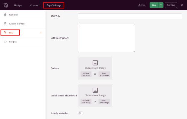 SEO settings in SeedProd