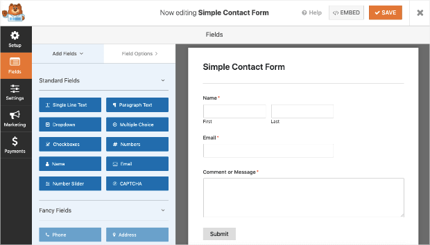 simple contact form by wpforms