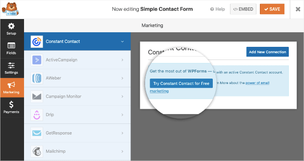 try constant contact free with wpforms-min