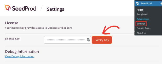 Verify license key SeedProd